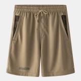 Mens Sport Elastic Waist Pocket Solid Color Casual Shorts