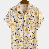 Daisy Spray Lively 3D Overall Printed Turn Down Collar Hawaii Holiday Short Sleeve Shirts For Men Women