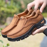 Men Cowhide Breathable Thick Bottom Wear-resistant Non-slip Casual Outdoor Flats