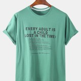 Mens Fashion Designer Letter Printed Loose Short Sleeve Crew Neck T-Shirts