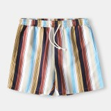 Mens Holiday Colorful Stripe Printing Breathable Quick Drying Mini Short Beach Shorts