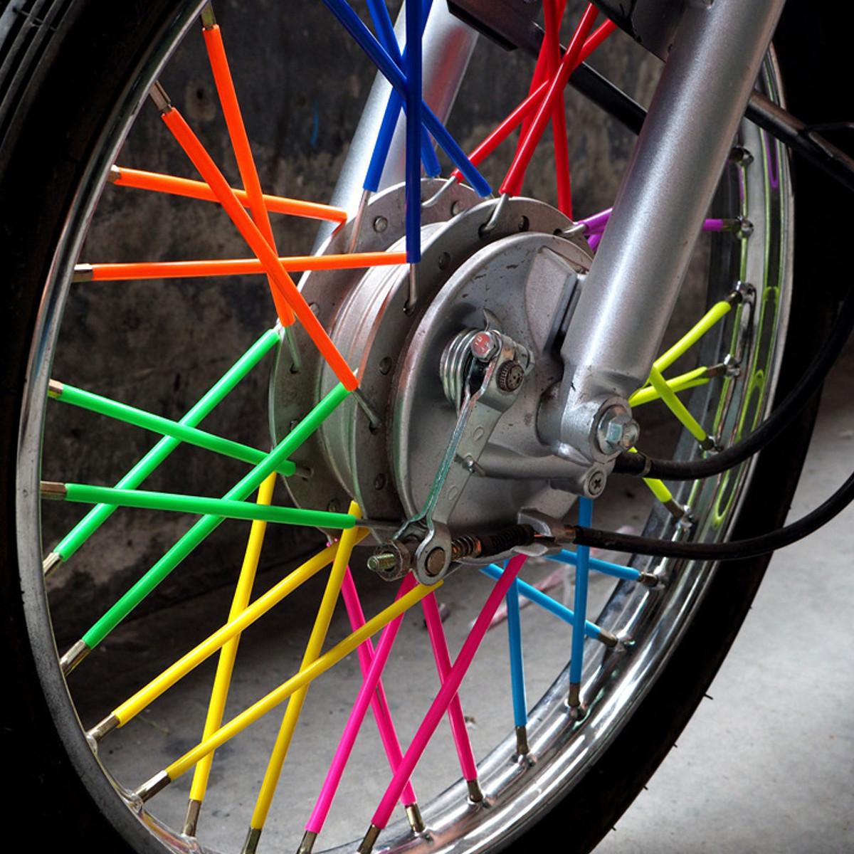 72Pcs Spoke Skins Cover Wheel Rim Guard Protector Wraps For Motocross Motorcycle Dirt Bike