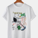 Mens Funny Cartoon Graffiti Short Sleeve Crew Neck T-Shirts