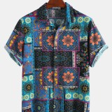 Mens Casual Ethnic Stylt Floral Printing Loose Fit Short Sleeve Leisure Shirts