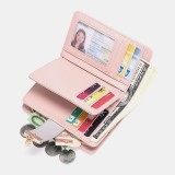 Women Genuine Leather RFID Anti Theft Multi-slots Bifold Wallet Purse Clutches Bag