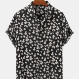 Daisy Print Short Sleeve Chest Pocket Breathable Short Sleeve Shirts For Men Women