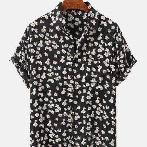 Daisy Print Short Sleeve Chest Pocket Breathable Short Sleeve Shirts For Men Women