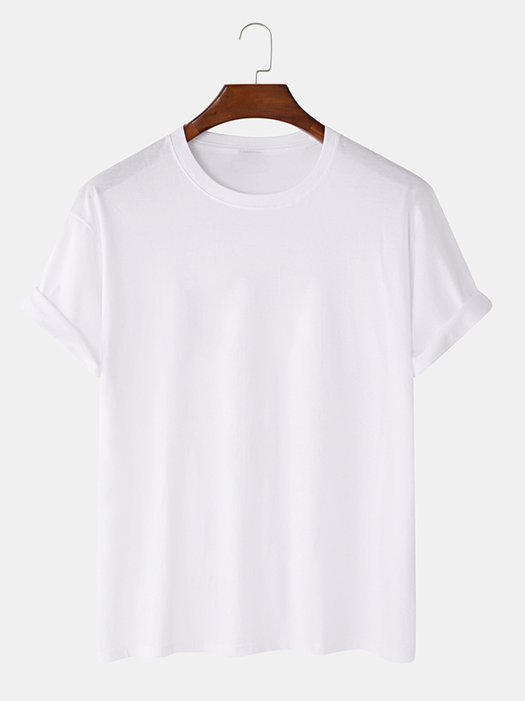 Mens Fashion Cat Print Crew Neck Short Sleeve T-Shirts