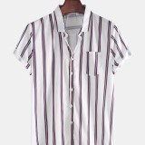 Mens Fashion Breathable Multi Colors Stripe Chest Pocket Short Sleeve Casual Shirts
