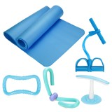 5Pcs Yoga Mats Set Pedal Tension Rope Yoga Ring Indoor Exercise Fitness Kit