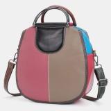 Women Circle Genuine Leather Bag Patchwork Crossbody Bag Handbag Shoulder Bag