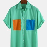 Mens Casual Double Pockets 100% Cotton Short Sleeve Shirts