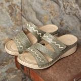 LOSTISY Women Embroidery Hook Loop Adjustable Strap Open Toe Casual Wedge Sandals