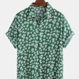 Men Daisy Spray Floral Printed Cotton Holiday Casual Short Sleeve Shirts
