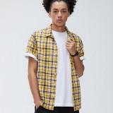 Men 100% Cotton Plaid Print Casual Loose Lapel Short Sleeve Shirts