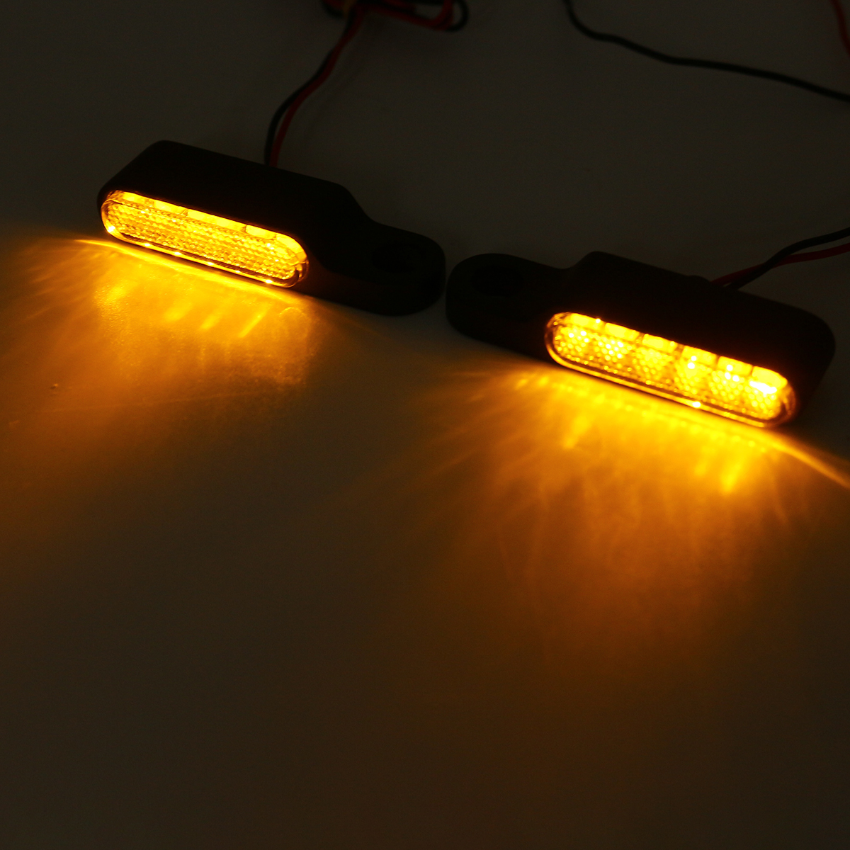 2PCS AMBER Mini Motorcycle Bike Handlebar Mount LED Turn Signal Indicators Light