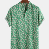 Funny Daisy Floral Print Short Sleeve Holiday Casual Henley Shirts For Men Women
