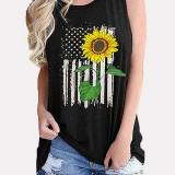 Women Sleeveless Flag Sunflower Print Independence Day Loose Tank Tops