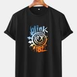 Mens Letter Cartoon Print Crew Neck Short Sleeve T-Shirts