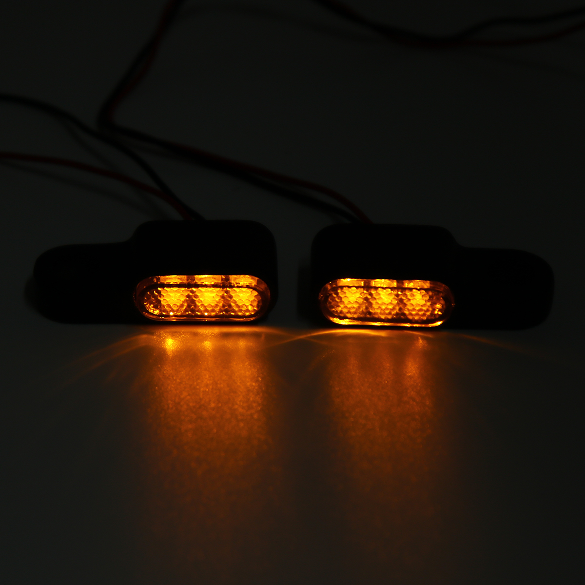 2pcs 12V Motorcycle LED Turn Signal Indicators Light Handlebar Mount Amber Aluminum Alloy