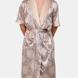 Mens Luxury Pattern Print Pocket Robe Shorts Home Casual Two Piece Faux Silk Pajama Set