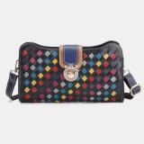 Women Genuine Leather Patchwork Phone Bag Crossbody Bag Shoulder Bag
