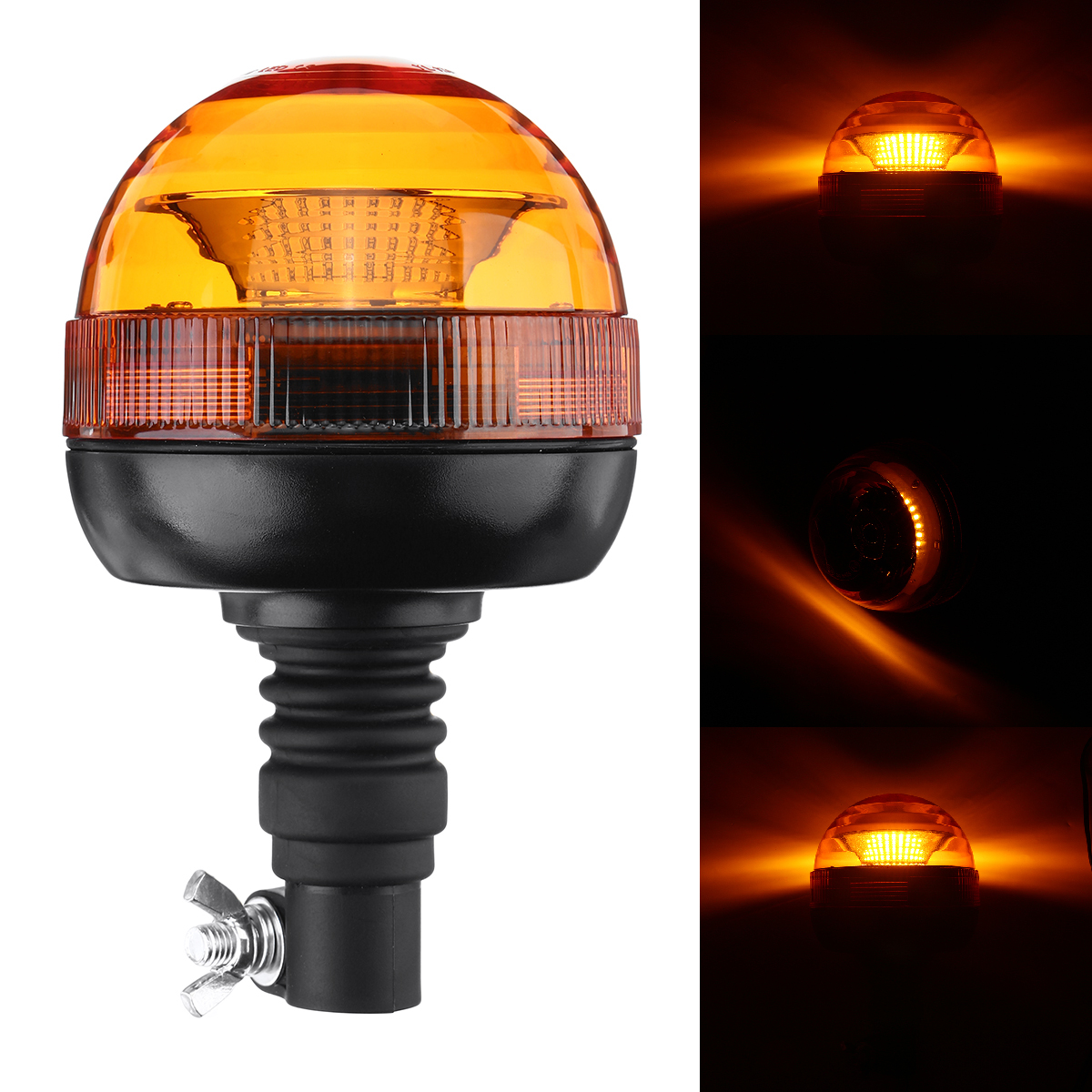 DC 12-24V Warning Light E9 + Flashing LED Beacon Flexble Din Pole Tractor Warning Light