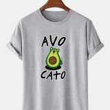 Men 100% Cotton Loose Funny Cartoon Avocado Printed Short Sleeve Casual T-Shirts