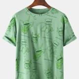 Mens Cartoon Character Print Crew Neck Short Sleeve Casual T-Shirts