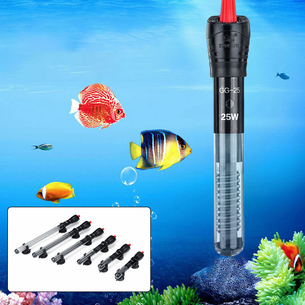 25/50/100/200/300/500W Fish Tank Automatic Thermostat Aquarium Heating Rod