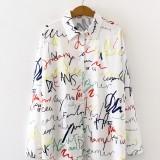 Alphabet Graffiti Print Fashion Loose Daily Casual Shirts