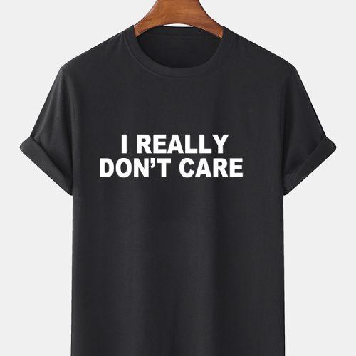Mens 100% Cotton Letter Print Crew Neck Short Sleeve T-Shirts