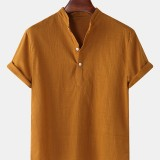 Mens Cotton linen Breathable Solid Color Short Sleeve Henley Shirts