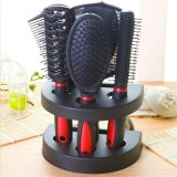 Healthcom Set of 5 Hair Combs Set Professional Salon Hair Cutting Brushes Sets Salon Hairdressing Styling Tool Mirror And Holder Stand Set Dressing Comb Kits for Women and Men