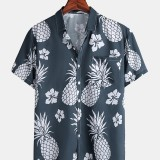 Mens Pineapple Print Chest Pocket Breathable Short Sleeve Shirts