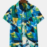 Mens Cotton Colorful Geometry Print Breathable Patch Pocket Short Sleeve Casual Shirts