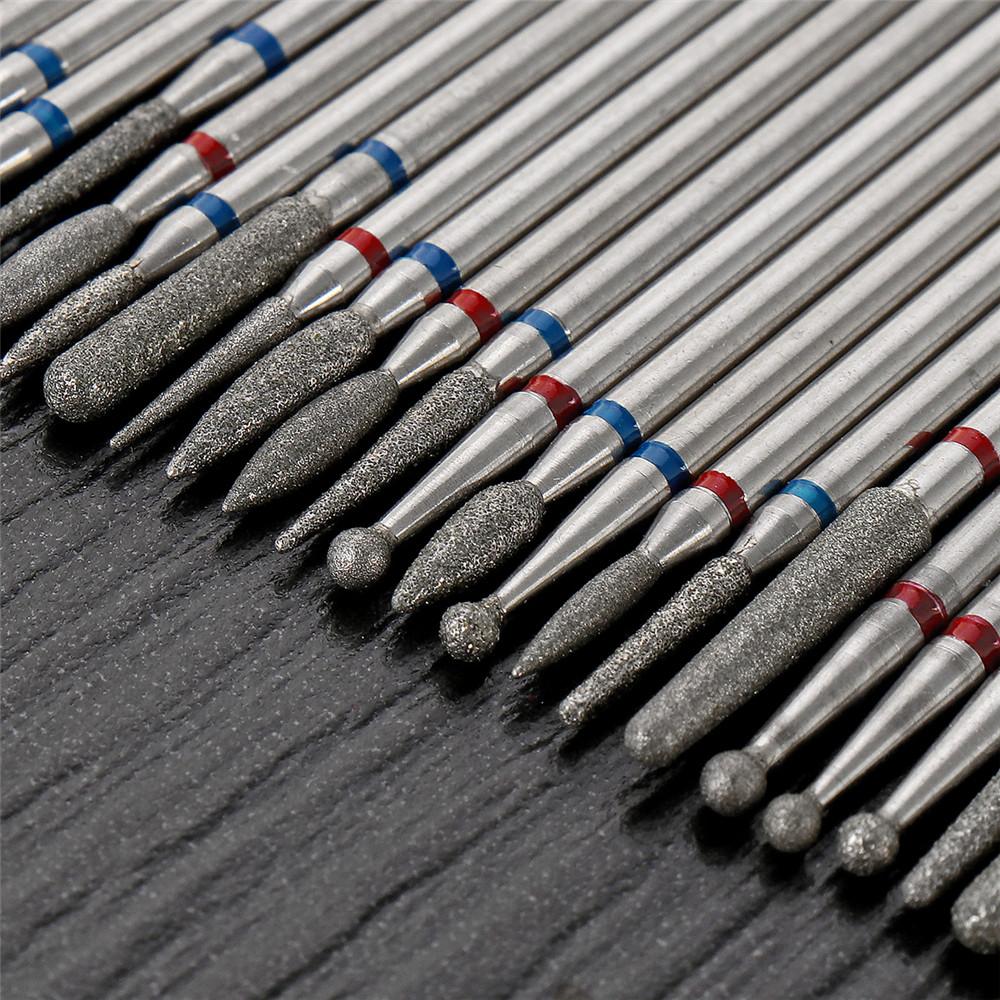 30Pcs Diamond Grinding Head Tungsten Carbide Grinding Polishing Bits for Nail