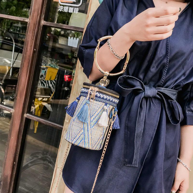 Women Summer Tassel Chains Straw Handbag Crossbody Bag Shoulder Bag