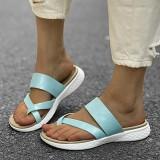 LOSTISY Women Toe Ring Slip On Soft Sole Casual Summer Flat Sandals