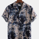 Men 100% Cotton Tie-Dye Print Casual Loose Lapel Short Sleeve Shirts