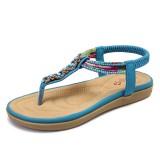 LOSTISY Women Bohemia Beading Elastic Band Clip Toe Soft Sole Causal Summer Flat Sandals