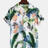Mens Tropical Plant Floral Print Breathable Short Sleeve Chest Pocket Holiday Shirts