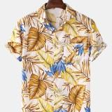 Mens Cotton Tropical Plant Leaves Print Turn Down Collar Hawaii Holiday Short Sleeve Shirts