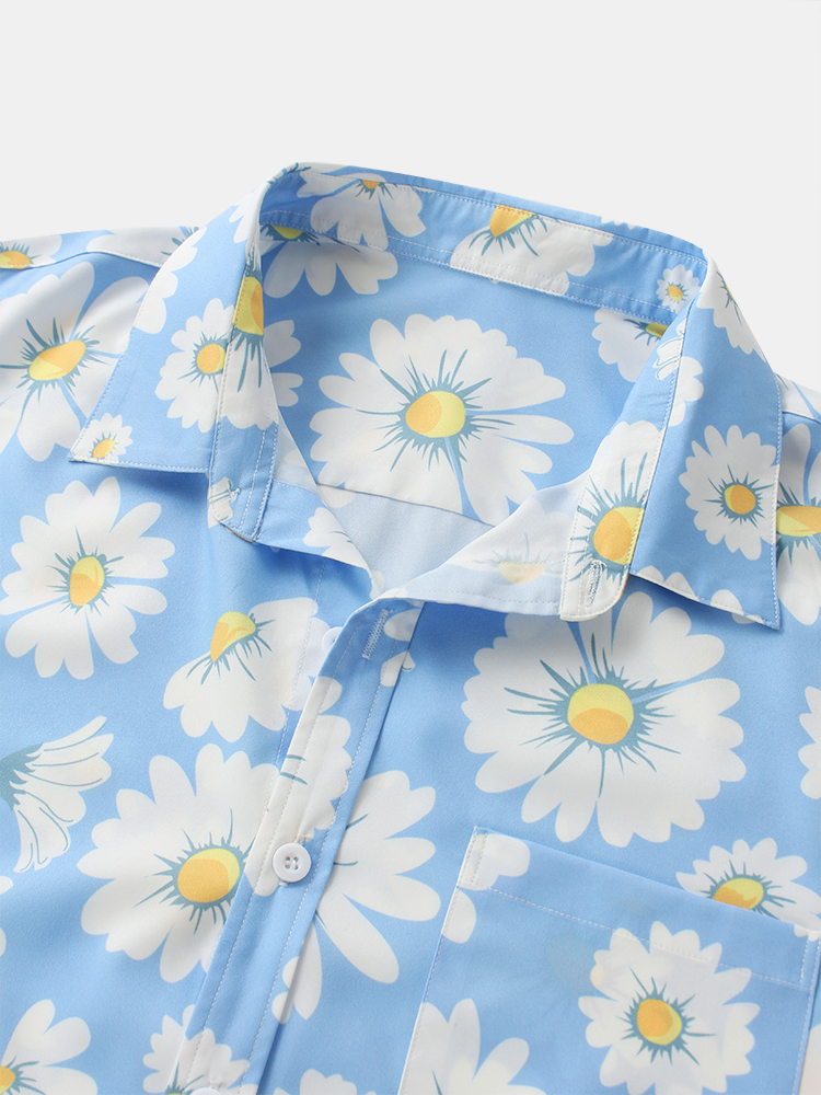 Daisy Spray Floral Printed Breathable Designer Chest Pocket Short Sleeve Shirts For Men Women