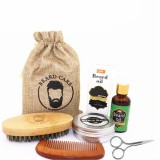 6 Pcs Beard Care Set Beard Beard Oil Beard Cream Double-sided Comb Brush Brush Bag Scissors