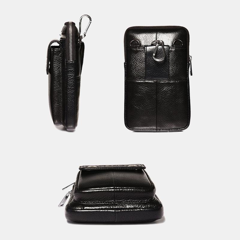 Men Genuine Leather Waist Bag Phone Bag Mini Crossbody Bag