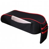 Universal Car Central Memory Foam Armrest Box Cushion Car Armrest Box Mat with Storage Bag (Black Red)