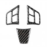 3 in 1 Car Carbon Fiber Solid Color Steering Wheel Button Decorative Sticker for BMW 3 Series E90 2005-2012, Left and Right Drive Universal