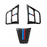 3 in 1 Car Carbon Fiber Tricolor Color Steering Wheel Button Decorative Sticker for BMW 3 Series E90 2005-2012, Left and Right Drive Universal