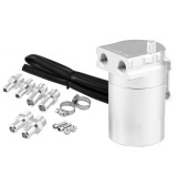 Universal Racing Aluminum Alloy Oil Catch Can Oil Tank Breather Tank, Capacity: 300ML (Silver)